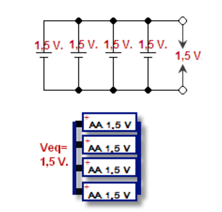 schematic and graphic for multiple batteries connected in a parallel circuit