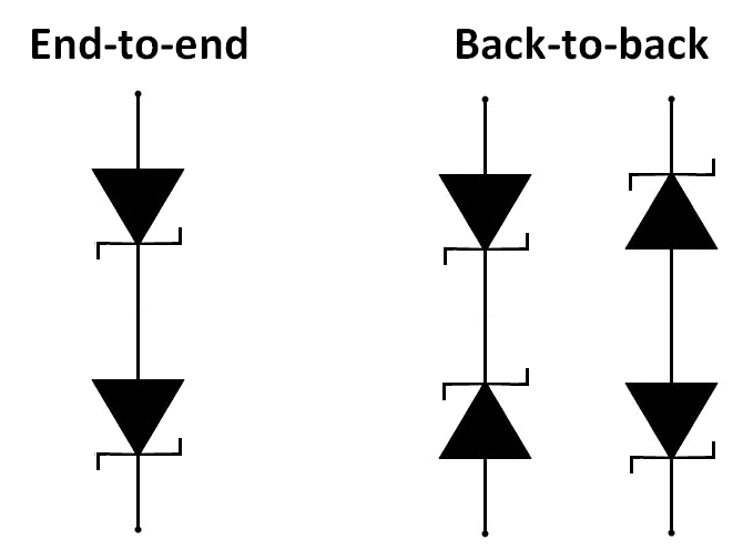 Back-to-back diodes in series