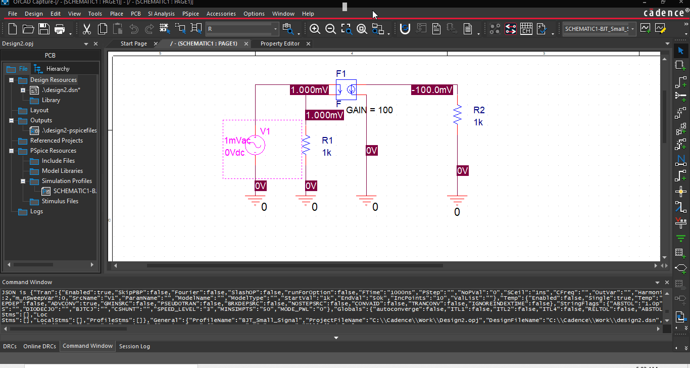 PSpice small signal analysis circuit for BJT