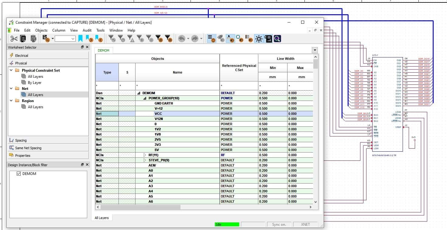 Allegro schematic constraint manager showing the same power net settings