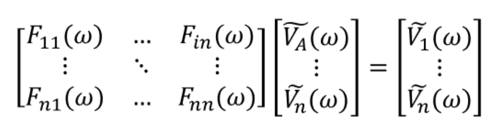 Characteristic matrix equation for nodal analysis in the frequency domain