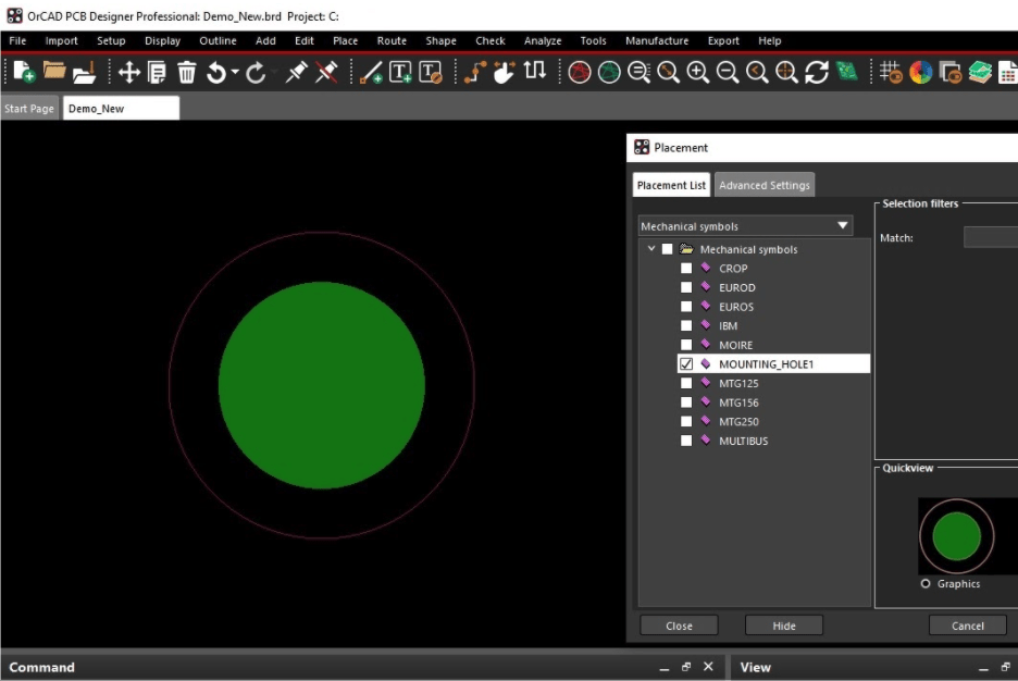 The placement menu in OrCAD PCB Designer being used to locate a mounting hole