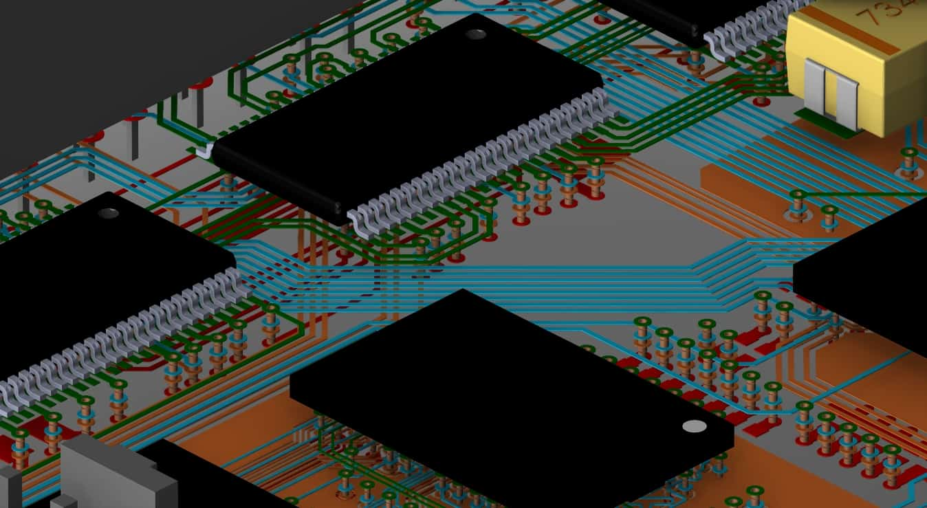 3D view of internal routing of a circuit board