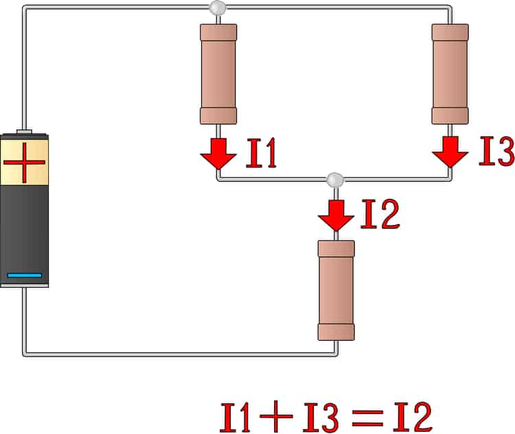 Kirchhoff's junction rule in a simple circuit diagram