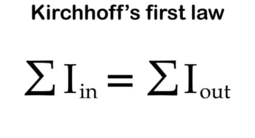 Kirchhoff's first law, Kirchhoff's junction law in electronics