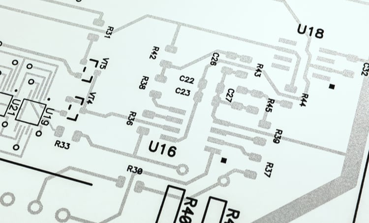 Circuit schematic on white