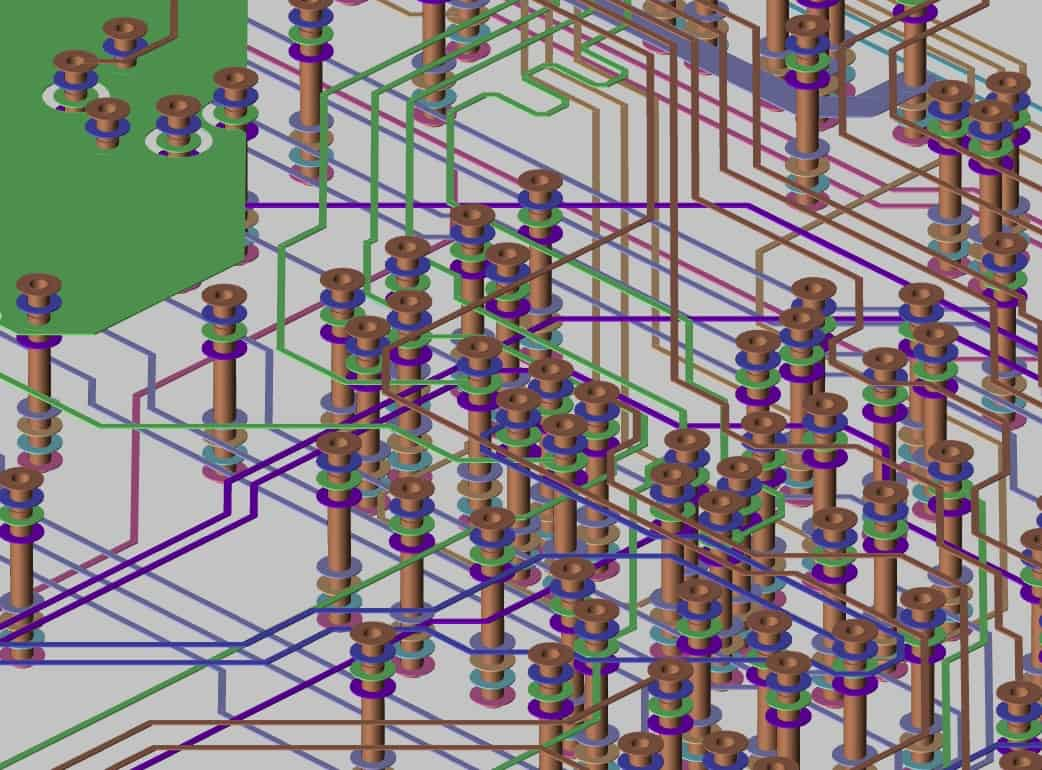 A 3D view of vias from within Cadence's Allegro PCB Designer