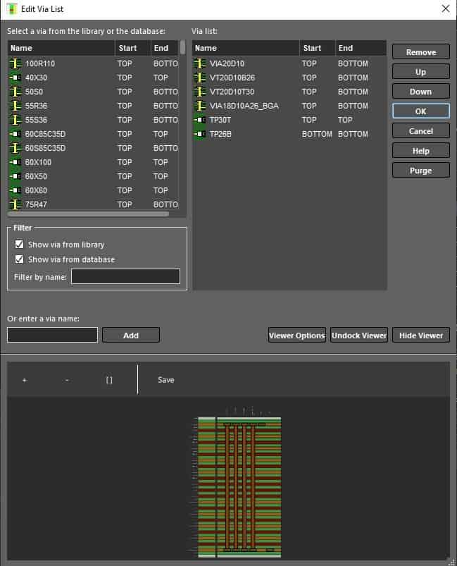 The via list menu in Cadence's Allegro PCB Designer