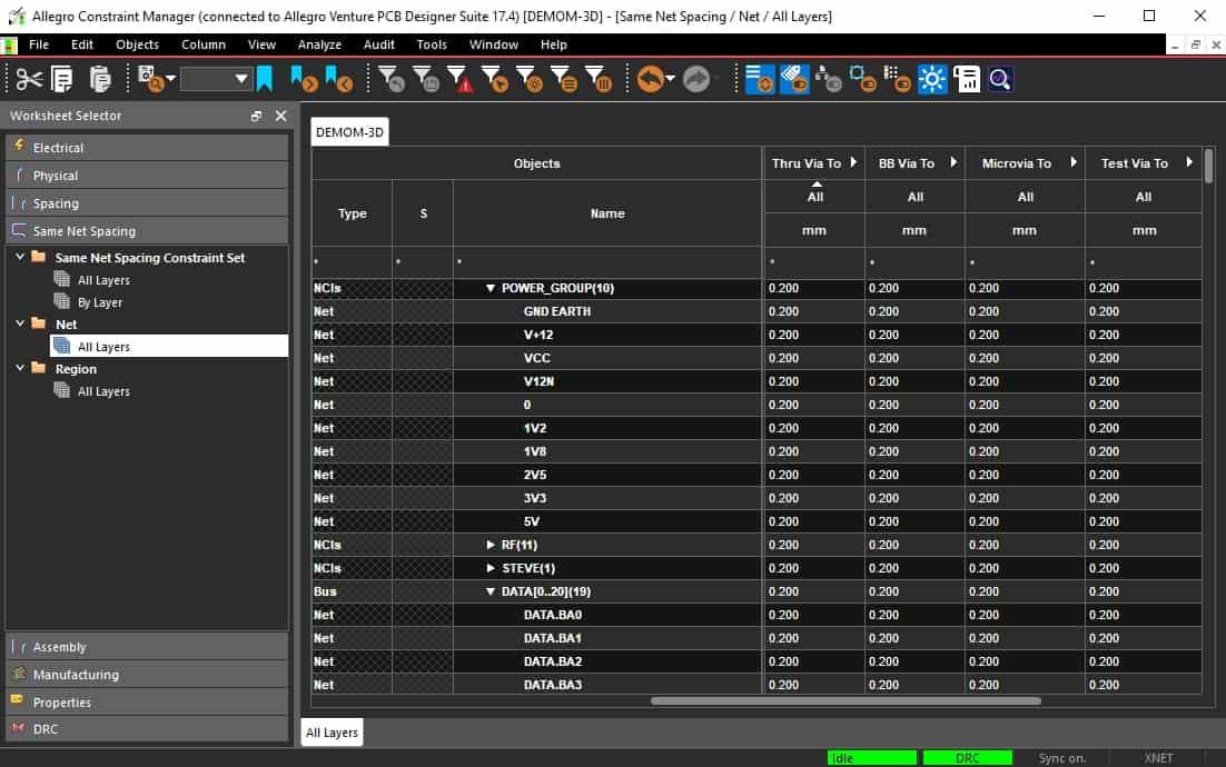 Allegro PCB Designers Constraint Manager