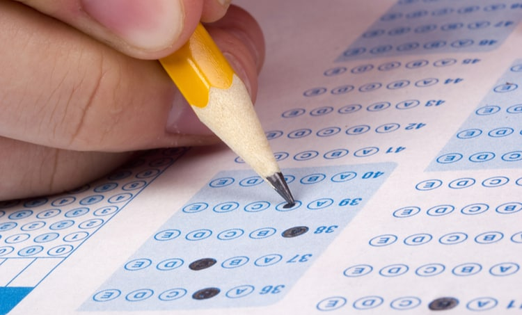 A standard test form being filled in with a pencil