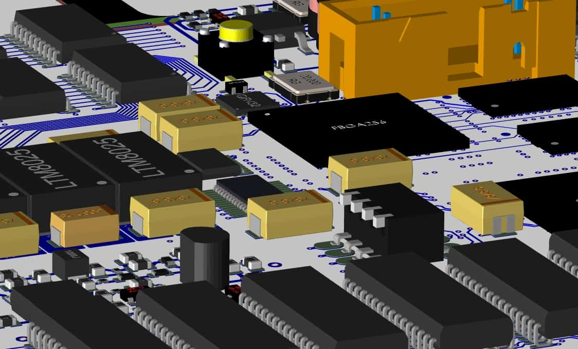 A 3D layout in Cadence Allegro PCB Designer