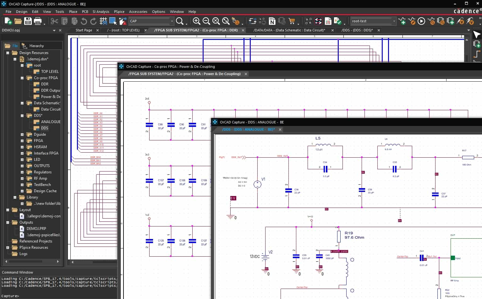 An OrCAD schematic open with multiple sheets displayed