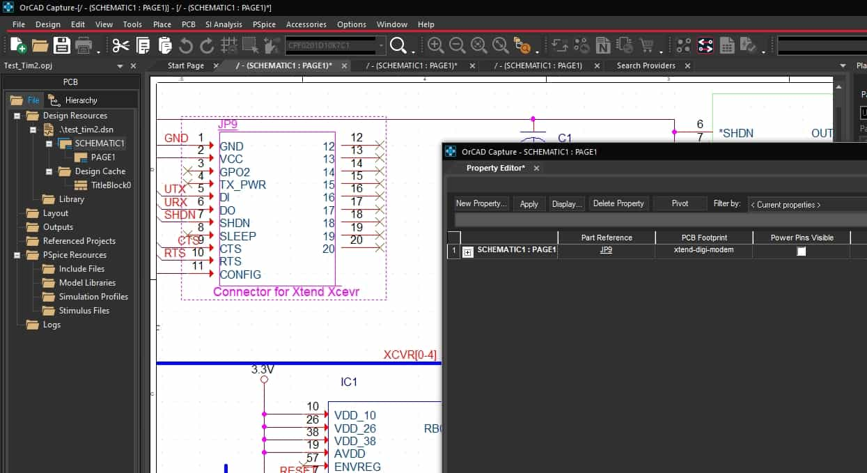 OrCAD Capture's schematic property editor opened on a selected part