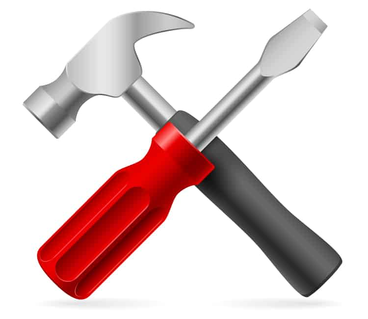 A hammer and a screwdriver.