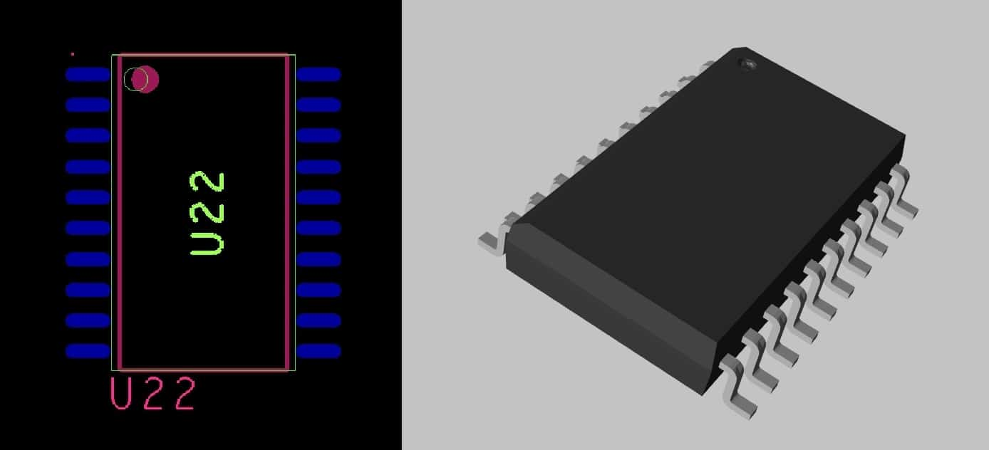 The 2D and 3D views of the same component footprint in Cadence's Allegro PCB Editor