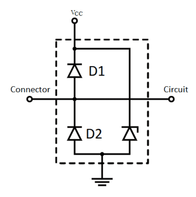 A schematic diagram of a steering diode in a simple circuit