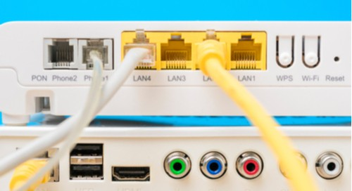 Communication ports in an internet router protected by steering diodes