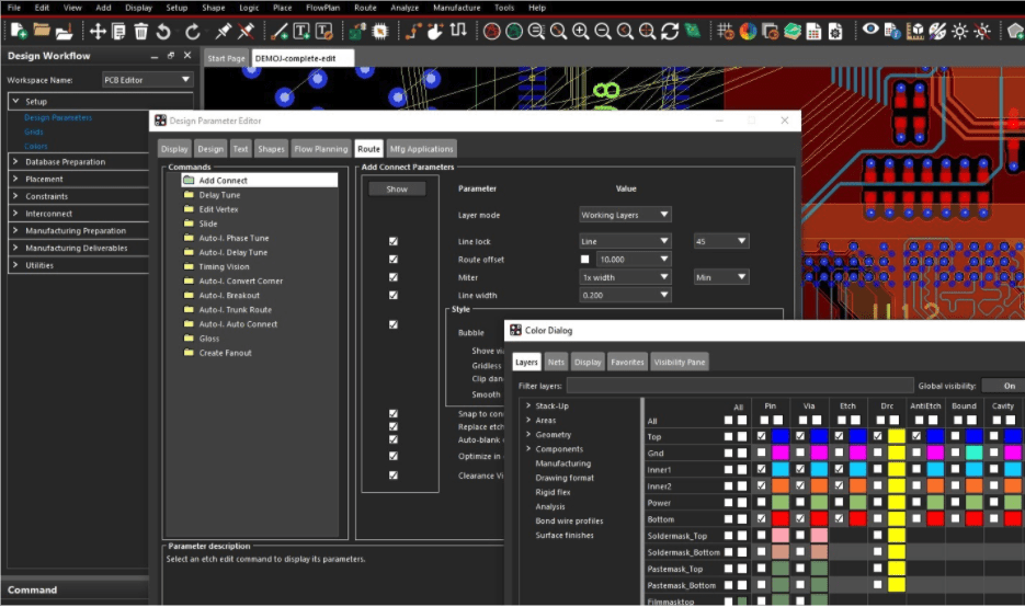 Some of the routing parameters shown in the Design Parameter Editor menu of Allegro PCB Editor