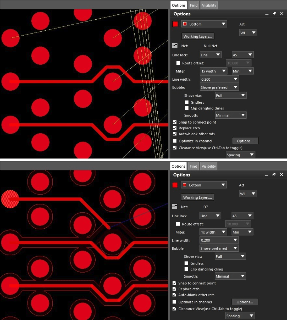 Two images of routing in Allegro showing the use of different route options