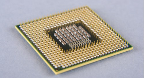 A microprocessor, which contains embedded electronics.