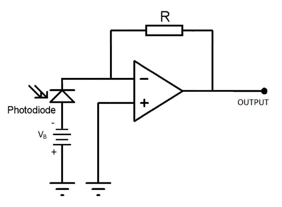 Photodiode bias in amplifier circuit schematic