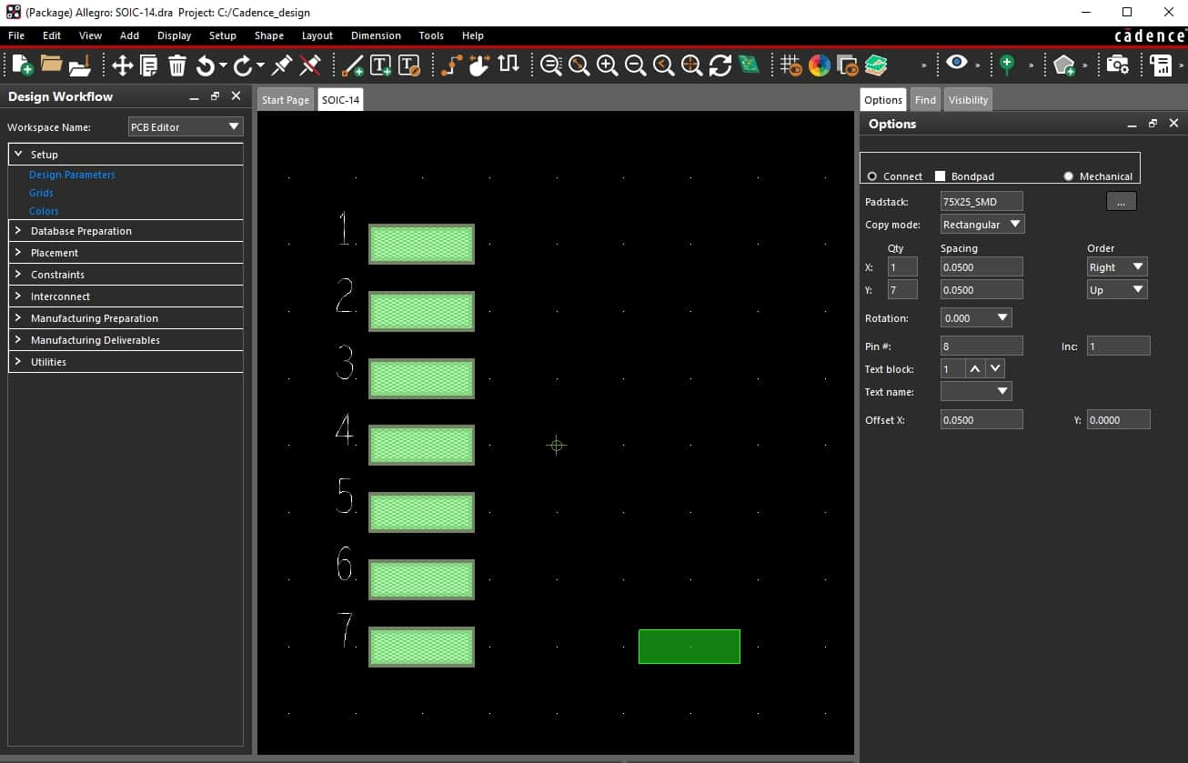 Using Cadence's Allegro PCB Editor to build a surface mount footprint