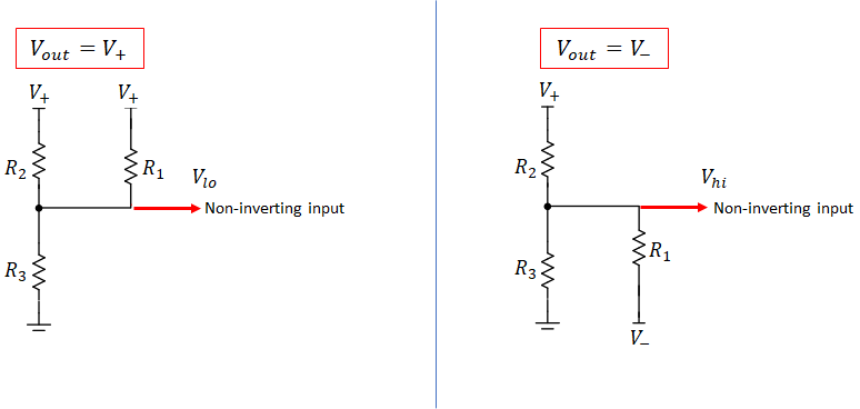 Schmitt trigger hysteresis with voltage divider