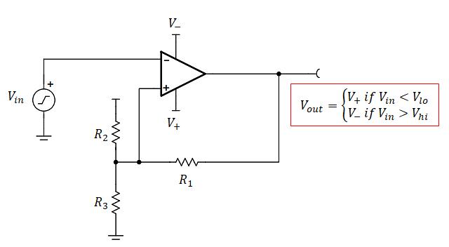 Schmitt trigger hysteresis circuit