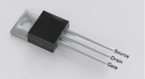 A 3D illustration of an isolated TO-220 electronic package with MOSFET pinout