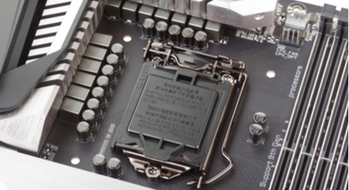 A VRM on a CPU socket on a motherboard