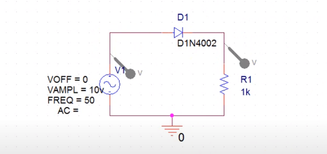 Half wave rectifier drawn in OrCAD schematic generating PSpice netlist