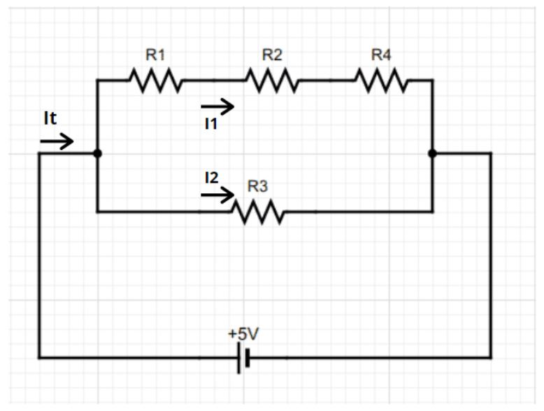 Parallel-series linear circuit showing resistance
