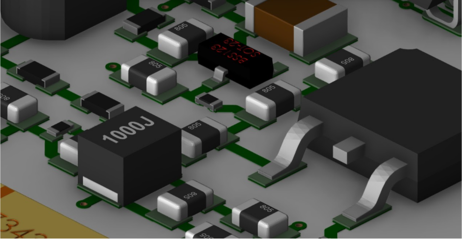 Analog routing is shown in a 3D view from Cadence's Allegro PCB Editor