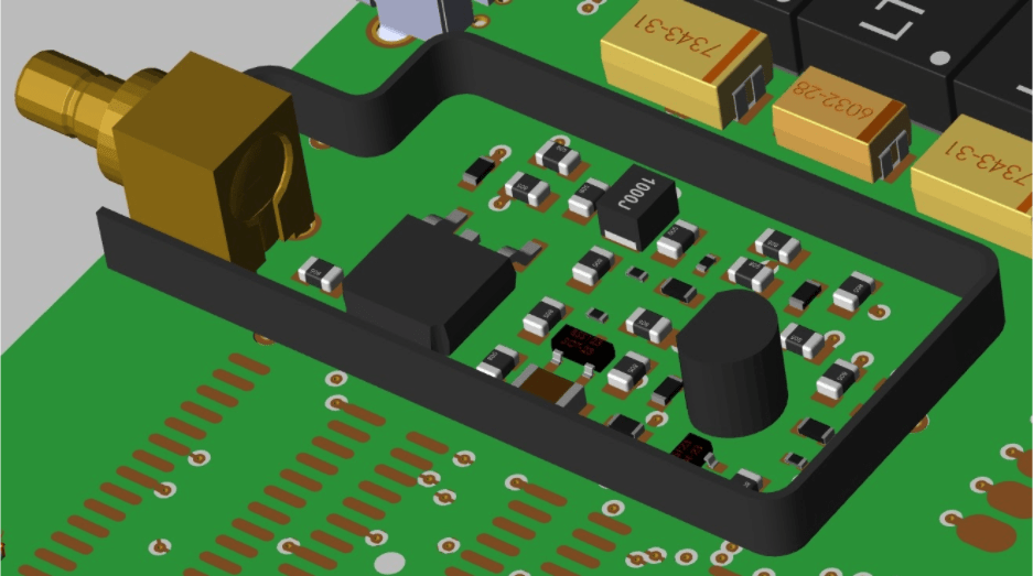 3D layout in Cadence Allegro showing an analog area protected with a shield