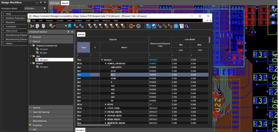 The Constraint Manager in Cadence Allegro Layout tools for analog trace routing rules