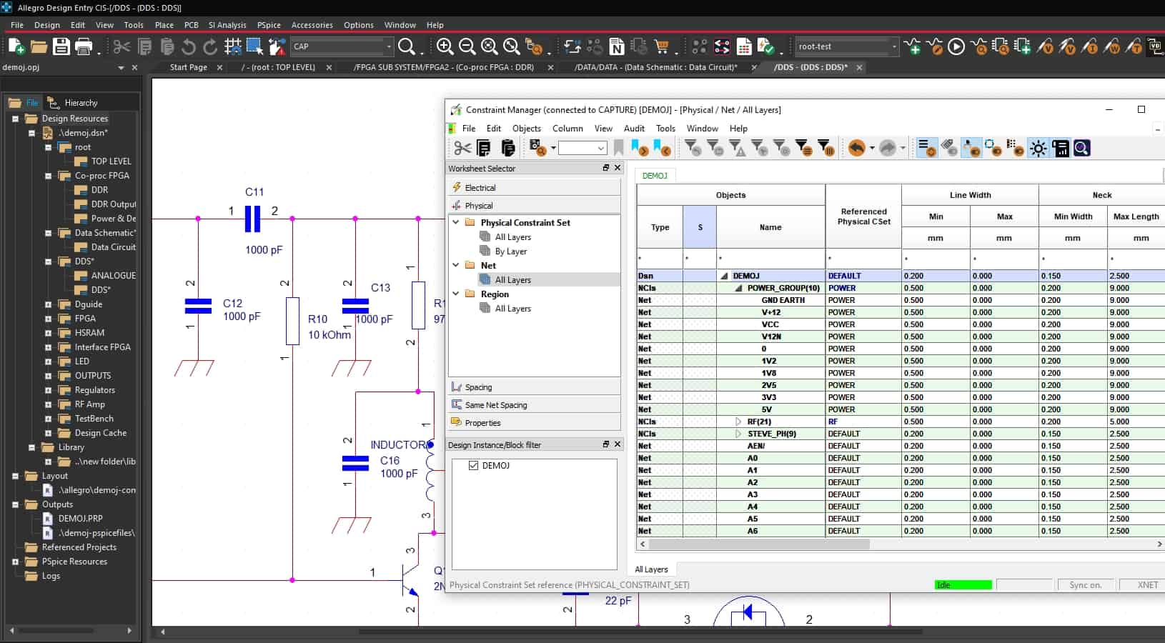 A Cadence Allegro schematic with the constraint manager displayed