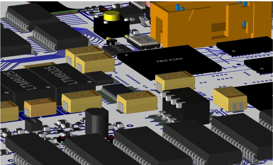 The layout of a PCB shown in Cadence Allegro