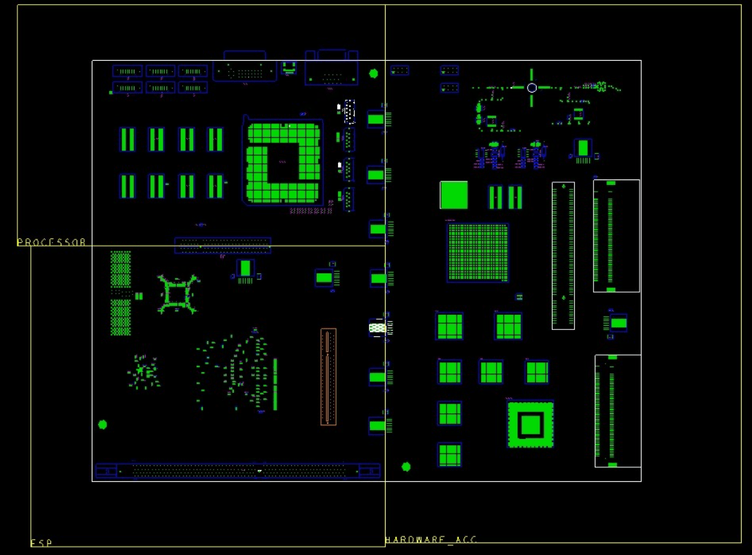 A PCB design in Cadence Allegro showing three rooms that are  set up