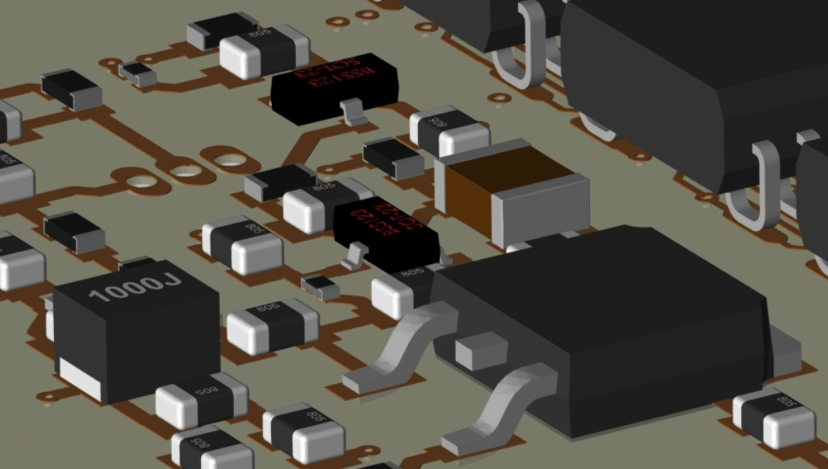 The 3D view of a circuit board component placement in Cadence Allegro PCB Editor