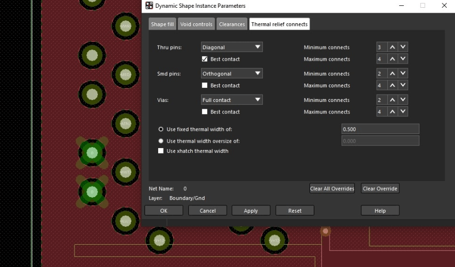 The Dynamic Shape Instance Parameters menu in Cadence Allegro PCB Editor