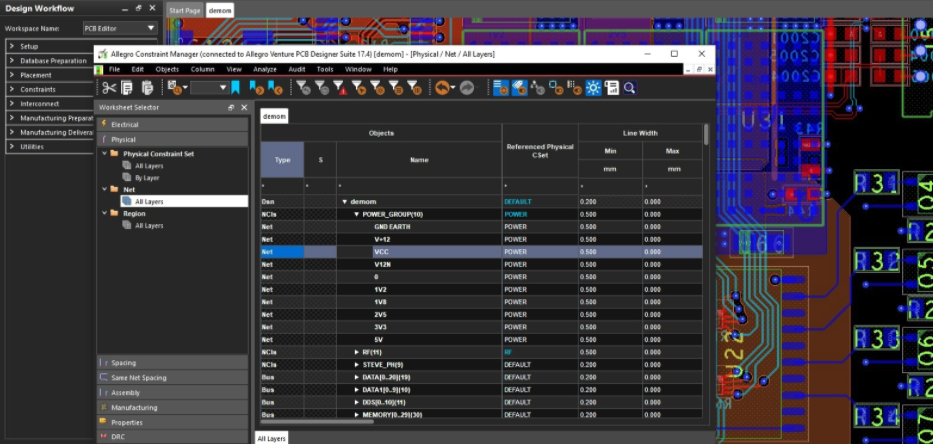 The Constraint Manager in Cadence Allegro PCB editor