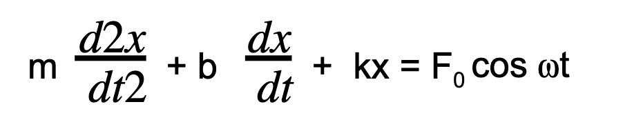 md2x dt2+ b dx dt+  kx = F0 cos ⍵t