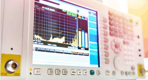 An oscilloscope showing EMI
