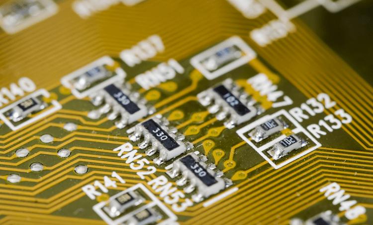 A yellow PCB