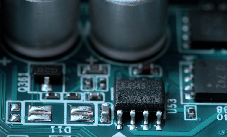 Close-up of a PCB that follows IPC spacing guidelines.