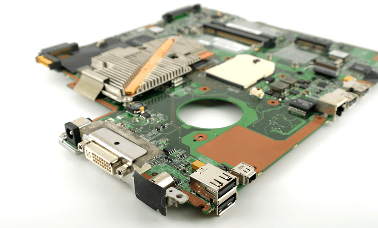 A densely placed circuit board with components on the edges