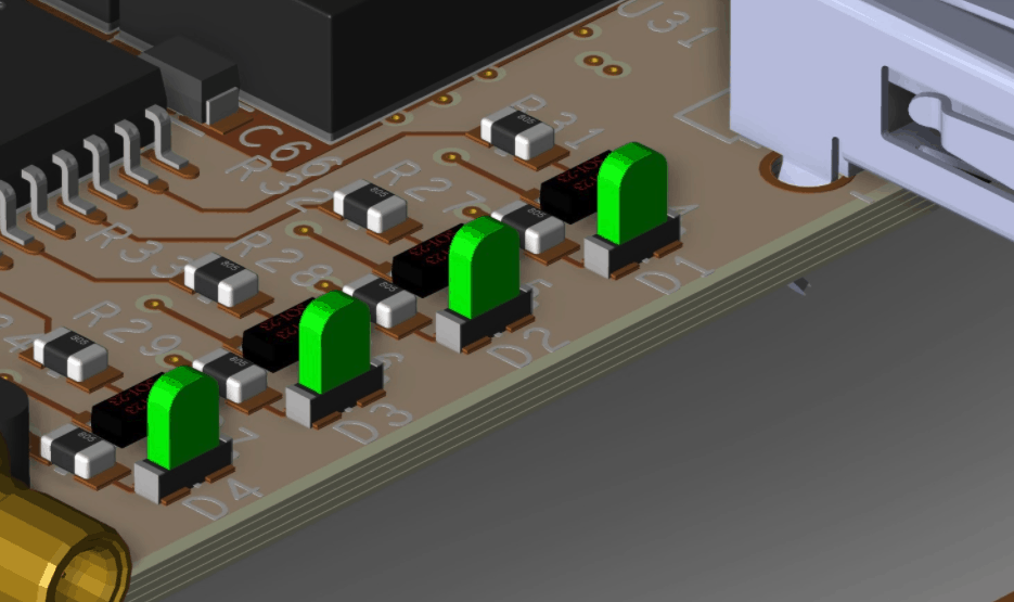 3D view of LED placement in Cadence's Allegro PCB Editor