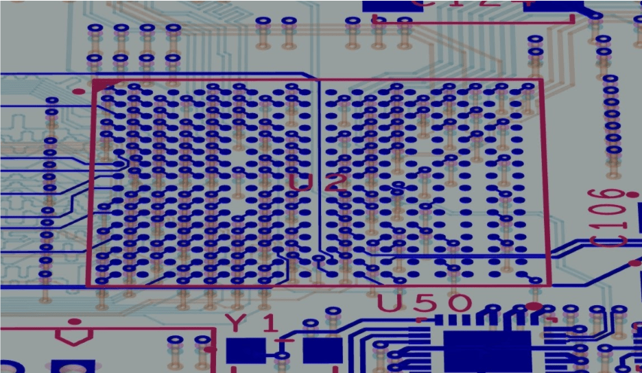 3D layout of a BGA footprint