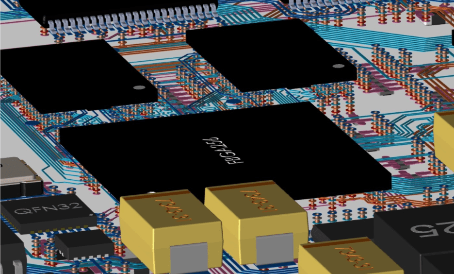 3-D rendering of the internal routing layers of a multi-layer PCB design