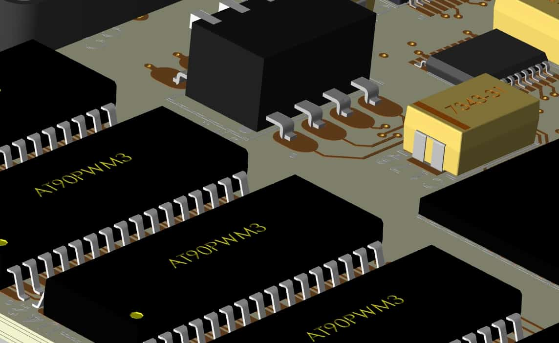 CAD component footprints in 3D placed on a circuit board